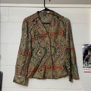 Ann Taylor Petite Blouse Shirt Top Size 4P Design